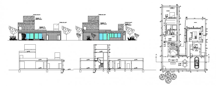 Beautiful residential house elevation, section and floor plan drawing details dwg file