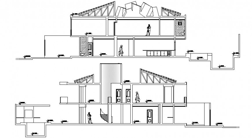 Beautiful residential house main and back section drawing details dwg file