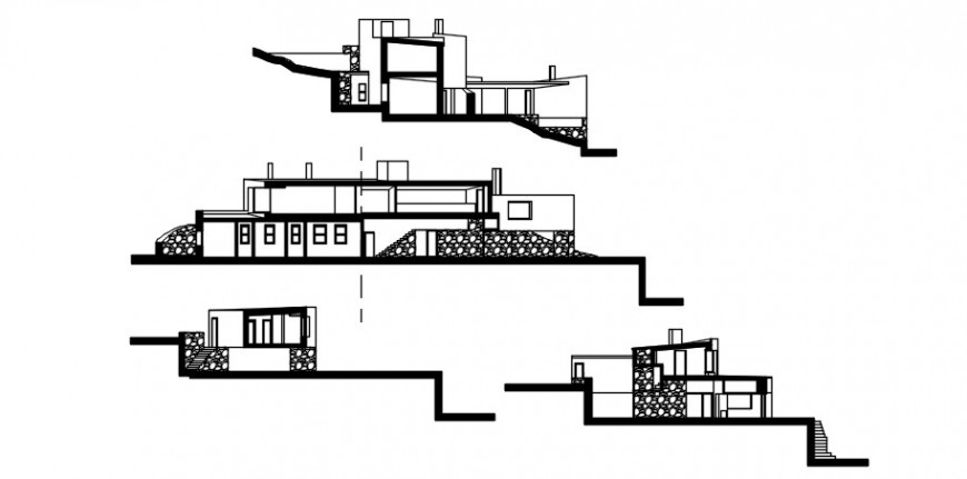 Beautiful residential house on height all sided elevation drawing details dwg file