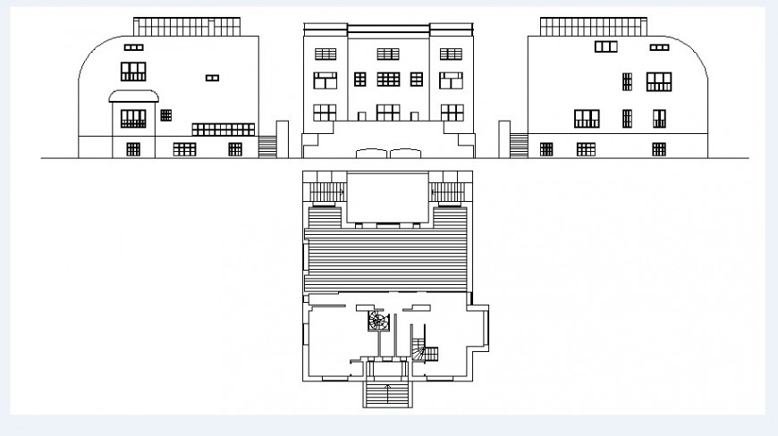 Beautiful residential house three sided elevation and auto-cad drawing details dwg file