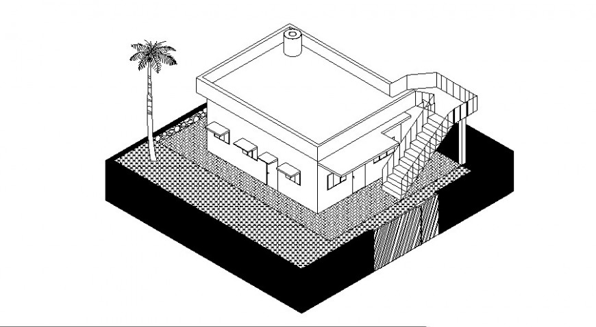 Beautiful residential house top view elevation cad drawing details dwg file