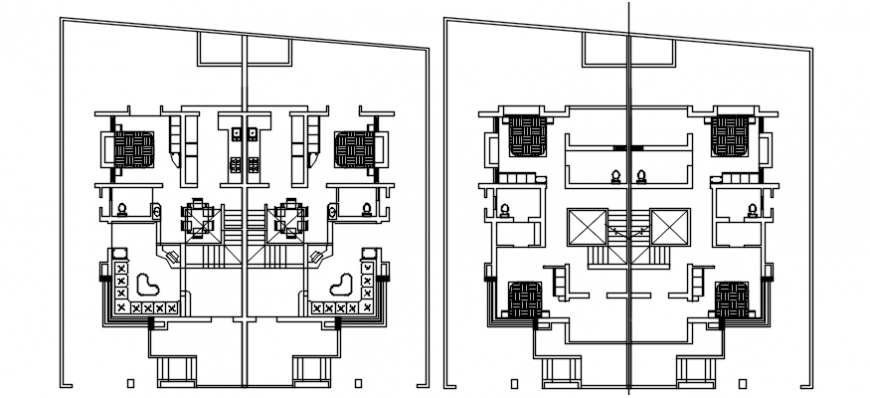 Beautiful residential twin house floor plan distribution details dwg file