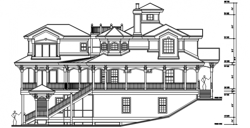 Beautiful residential villa front elevation cad drawing details dwg file
