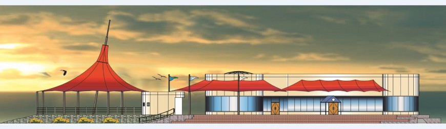 Beautiful restaurant main elevation cad drawing details dwg file