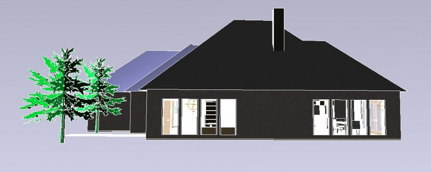 Beautiful roof house 3d model cad drawing details dwg file