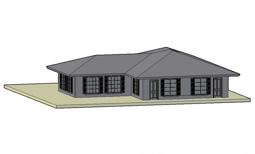 Beautiful single story club house 3d model cad drawing details dwg file
