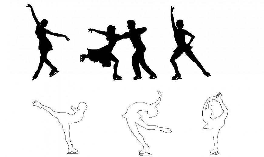 Beautiful skating and dancing people blocks cad drawing details dwg file