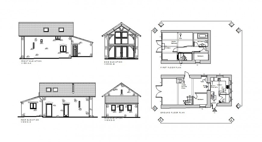 Beautiful small house elevation, section and plan cad drawing details jpg file