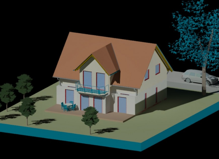 Beautiful small roof house 3d model drawing details dwg file