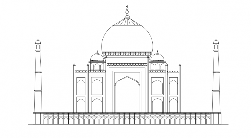 Beautiful Tajmahal front elevation 2d model drawing details dwg file