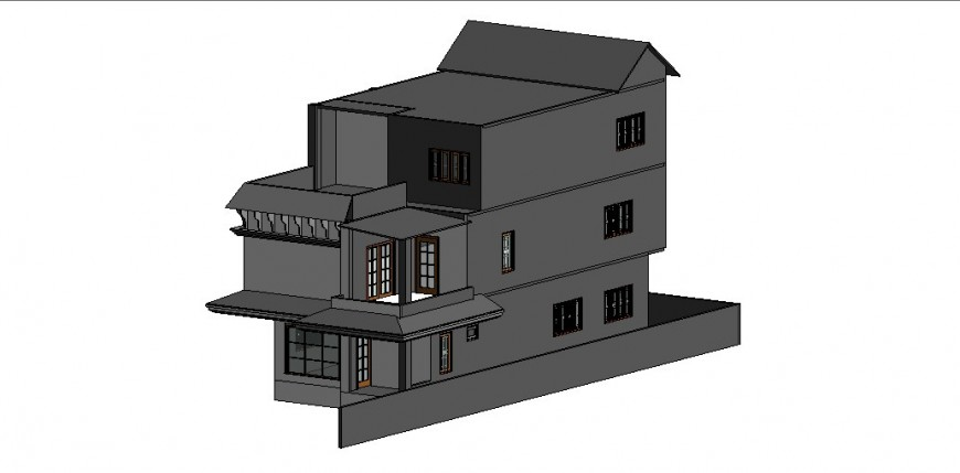 Beautiful three story bungalow 3d model cad drawing details skp file