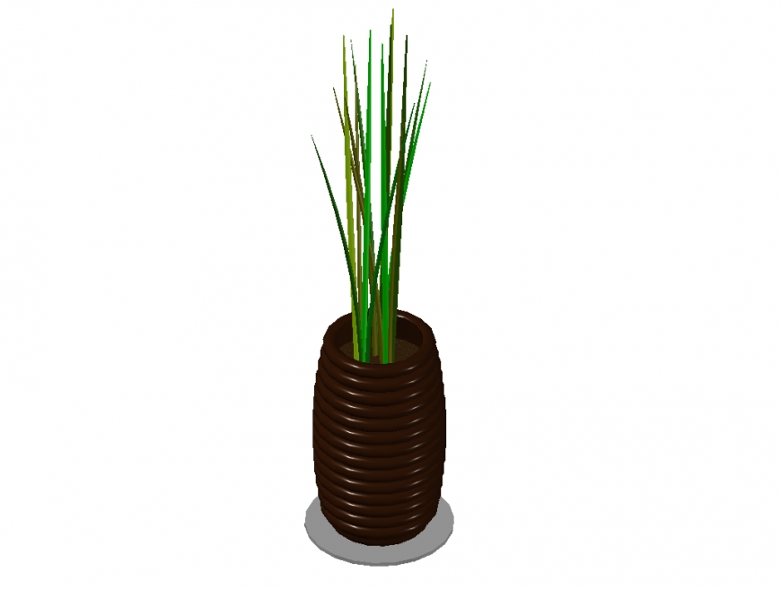 Beautiful tree plant with vase 3d drawing details dwg file