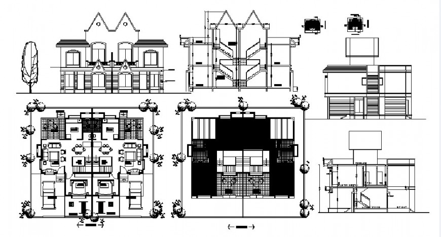 Beautiful twin house elevation, section and floor plan cad drawing details dwg file