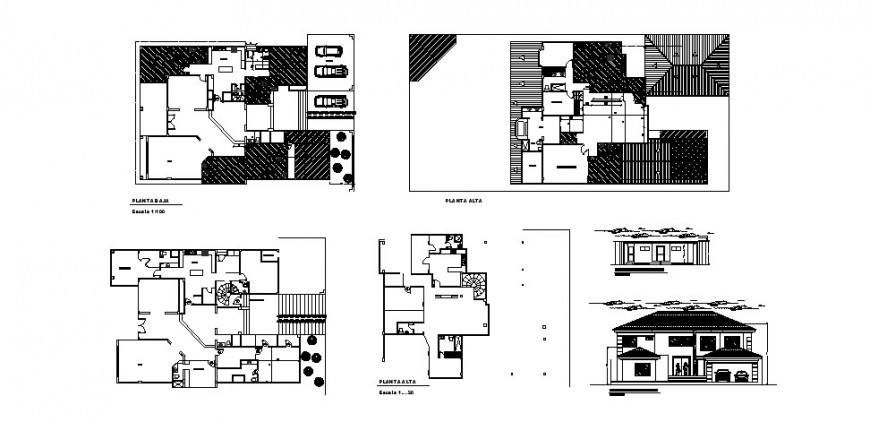 Beautiful two-story house detailed architecture project dwg file