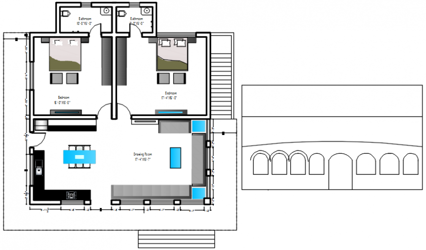 Beautiful two bedroom house layout plan cad drawing details dwg file