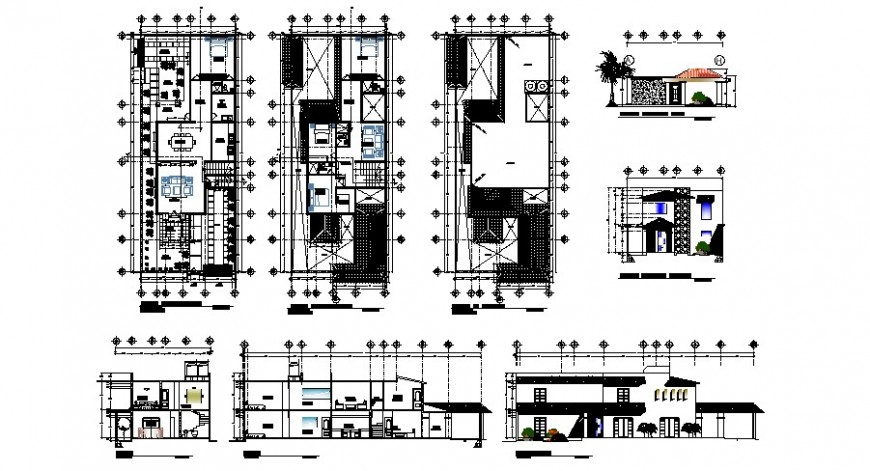 Beautiful two story house elevation, section and floor plan cad drawing details dwg file