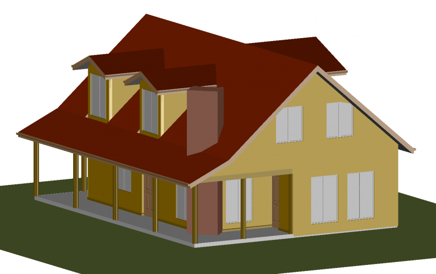 Beautiful two story residential house 3d model cad drawing details dwg file