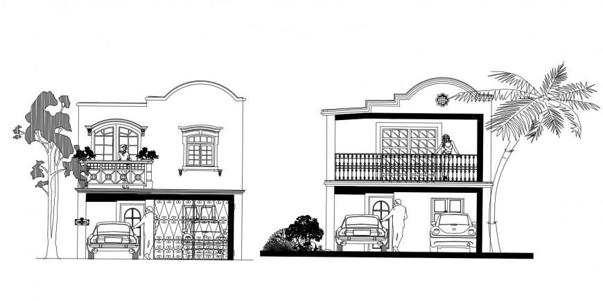 Beautiful two story residential house front and back elevation drawing details dwg file