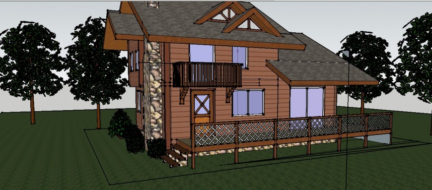 Beautiful wooden one family house 3d model cad drawing details skp file