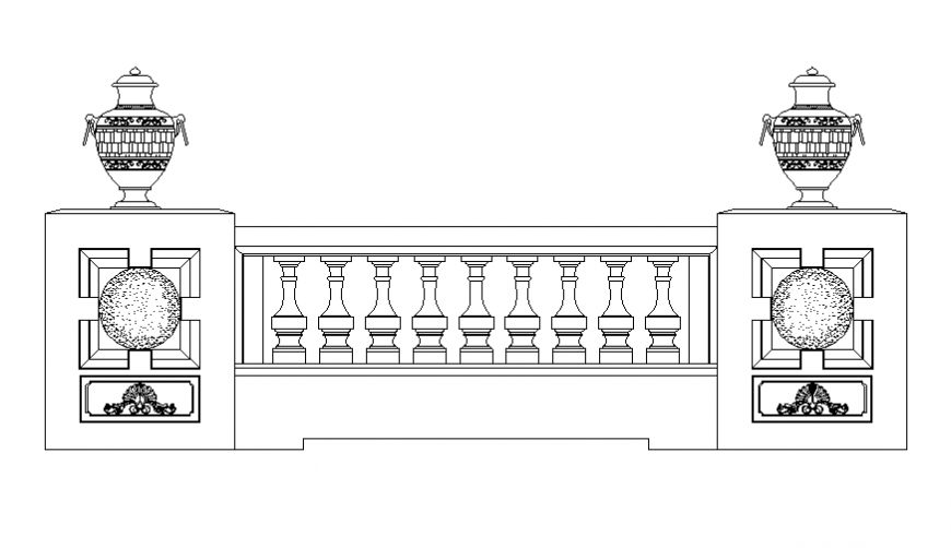 Beautiful wooden railing front elevation cad block details dwg file
