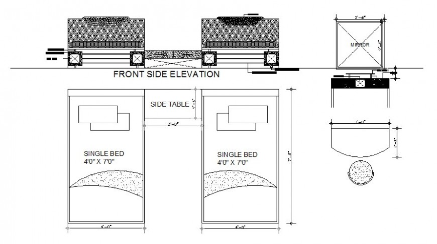 Bed plan and elevation furniture view in AutoCAD file