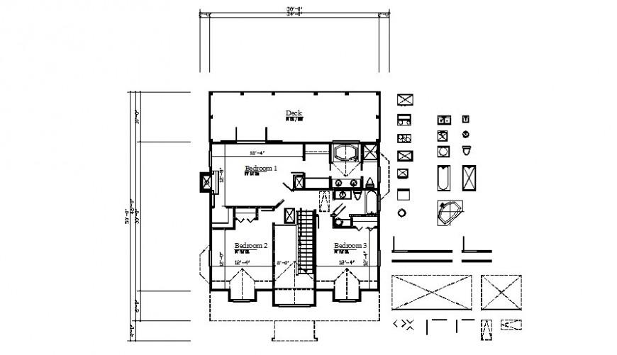 Bedroom area details of building 2d view autocad file