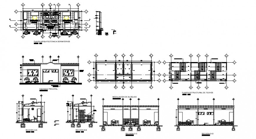 Bedroom area plan and elevation 2d view autocad file