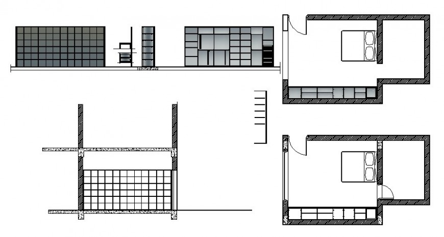 Bedroom area plan and elevation in autocad