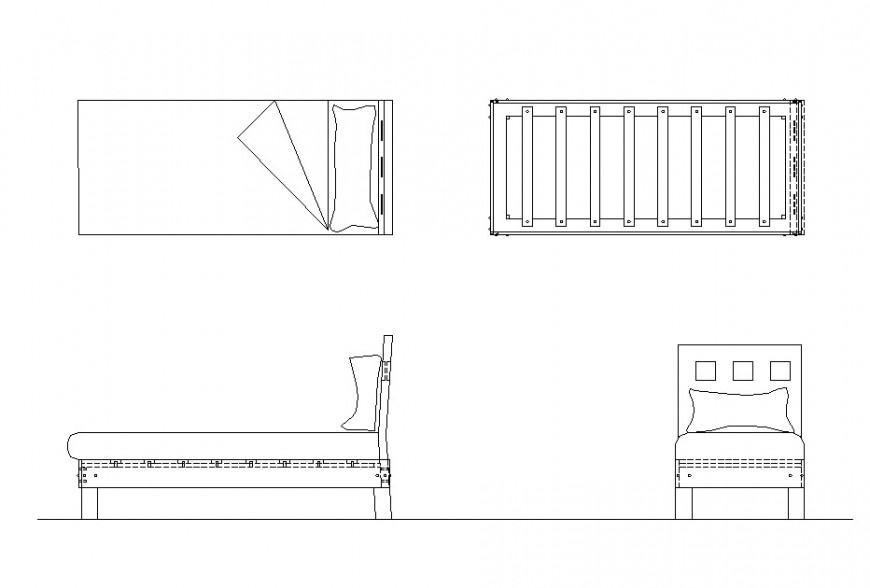 Bedroom bed structure detail 2d view CAD furniture block autocad file