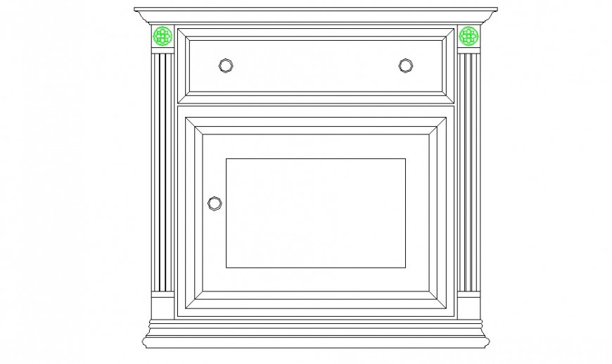 Bedroom bedside cabinet elevation block drawing details dwg file