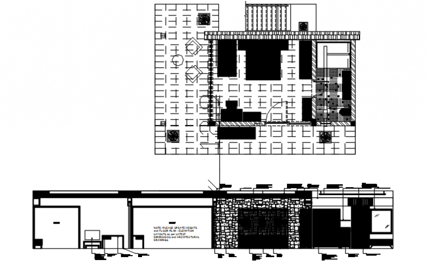 Bedroom constructive section and plan cad drawing details dwg file