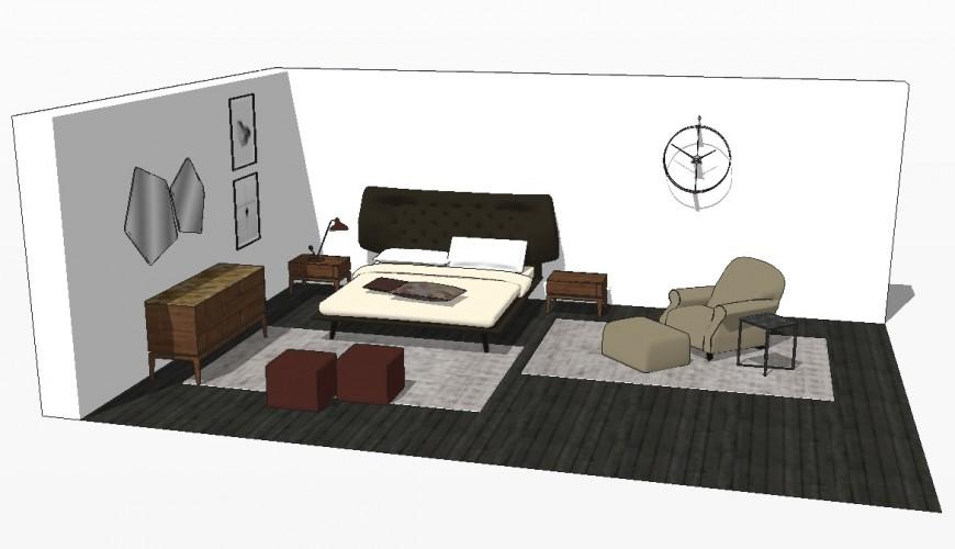 Bedroom detailing 3d model layout Sketch-up file