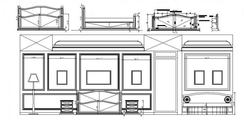 Bedroom elevation with master bed auto-cad drawing details dwg file