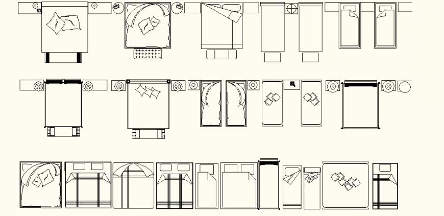 Bedroom furniture detail elevation and plan dwg file