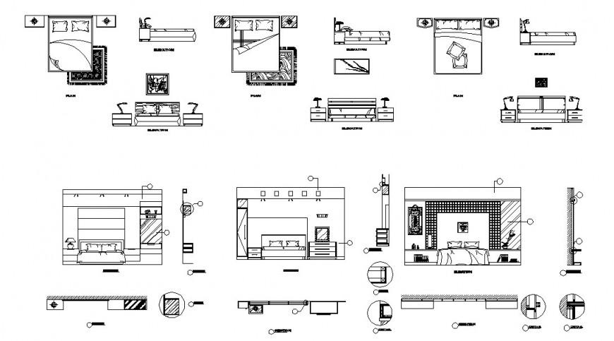 Bedroom furniture detailing, elevation detail dwg file