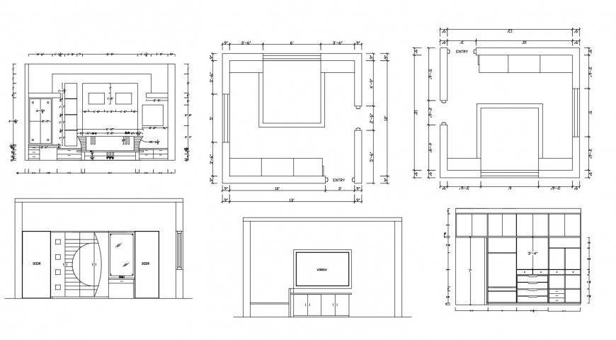 Bedroom layout plan and furniture blocks cad drawing details dwg file