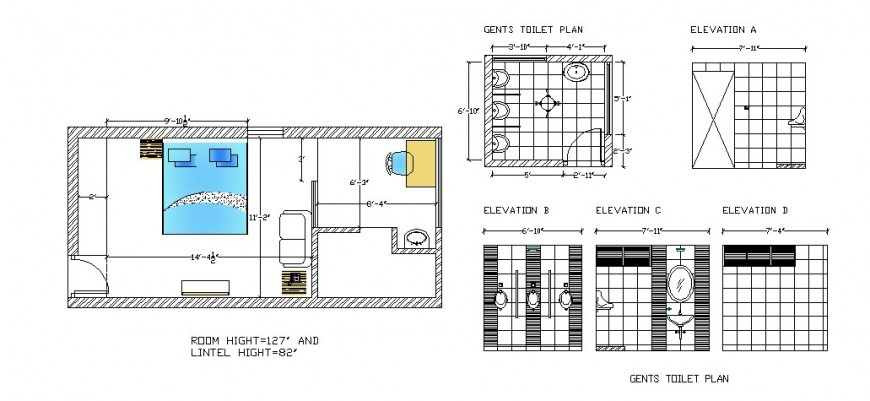 Bedroom plan with furniture and gents toilet elevation and plan cad drawing details dwg file