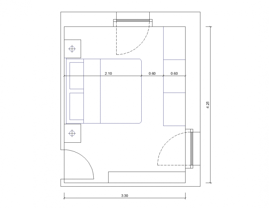 Bedroom plan with interior view dwg file