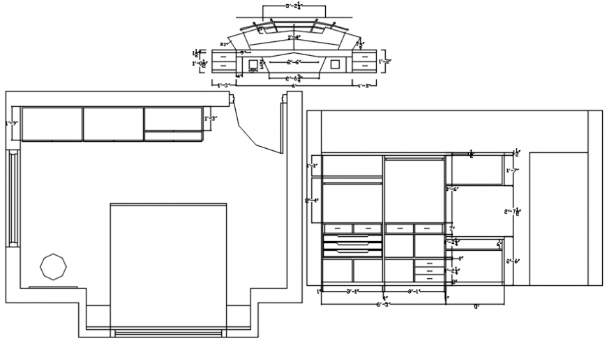 Bedroom plan with wardrobe, furniture and interior cad drawing details dwg file
