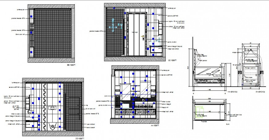 Bedroom section, plan and interior details with wardrobe dwg file
