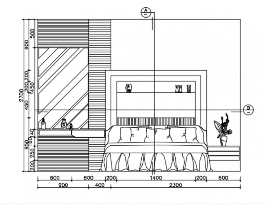 Bedroom sectional elevation dwg file