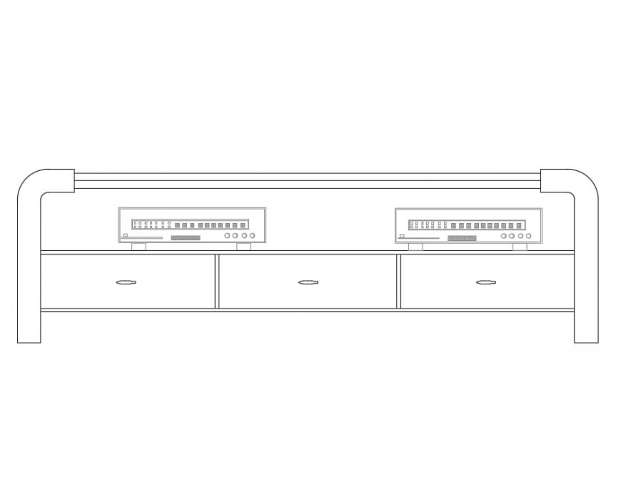 Bedroom storage unit furniture front view details dwg file