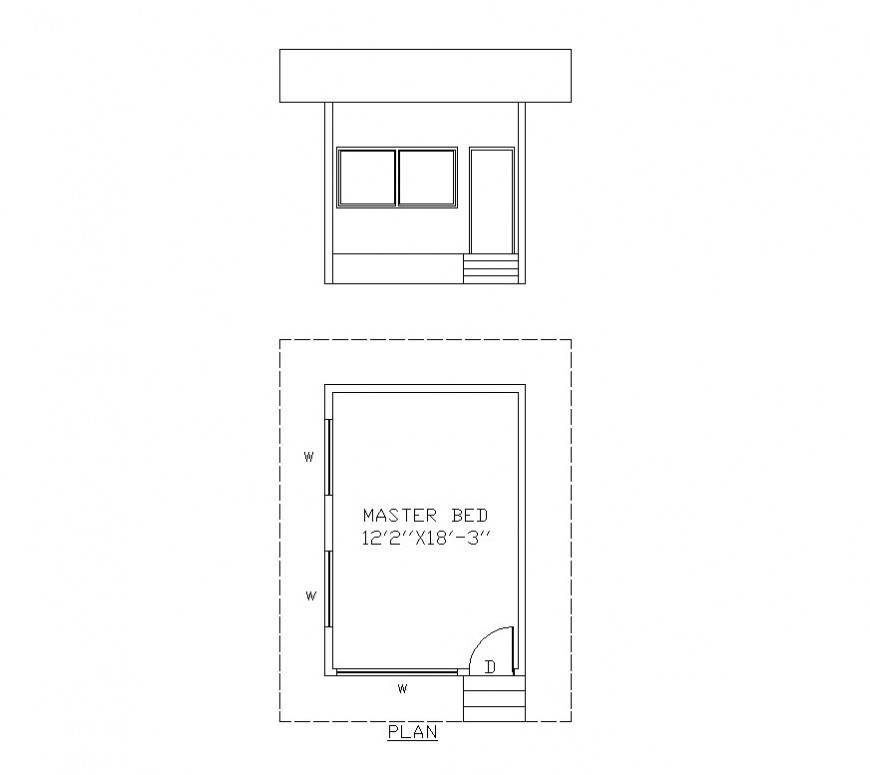 Bedroom structure detail plan and elevation 2d view layout CAD blocks dwg file