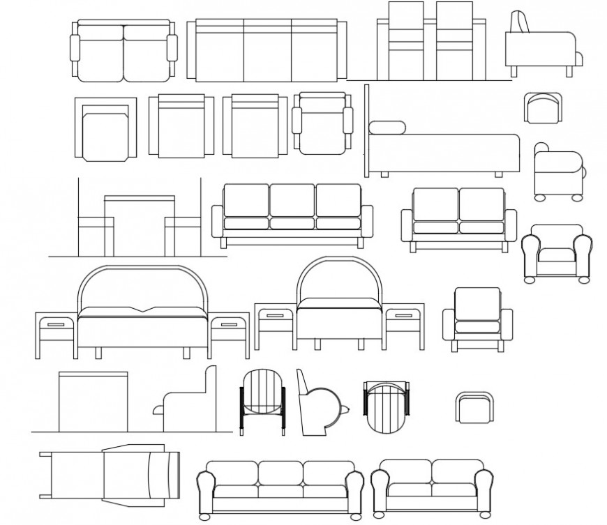 Beds sectional and other furniture model detail file