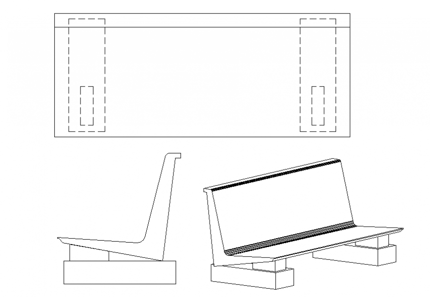 Bench all sided elevation cad block details dwg file