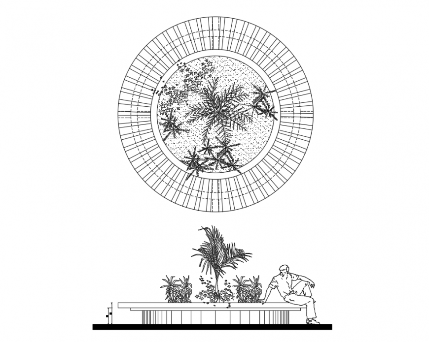 Bench planter elevation front and top view cad drawing details dwg file
