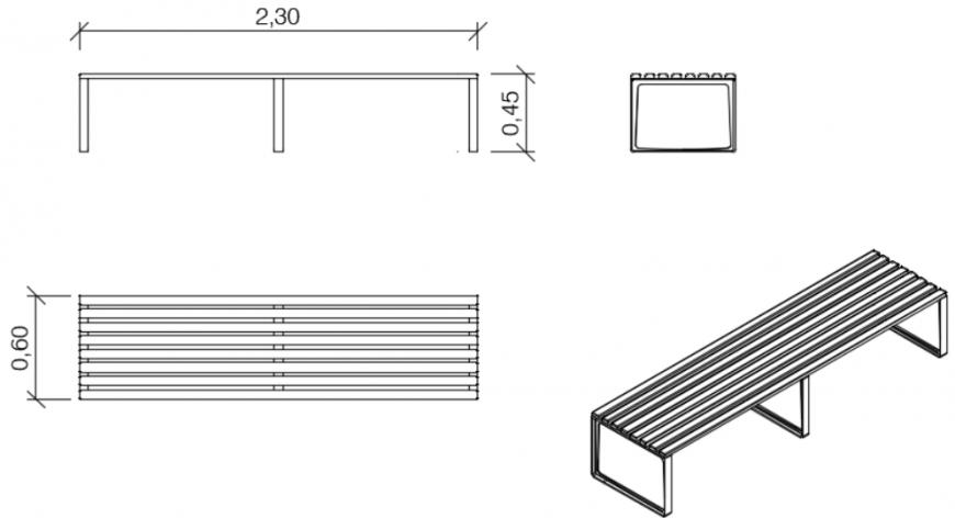 Bench sectional elevation model detail dwg file