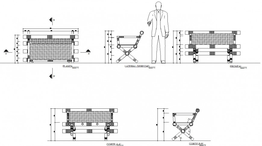 Bench wooden plan, elevation and section autocad file