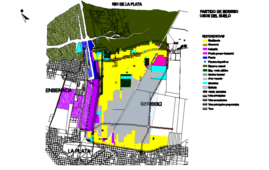 Berisso town urban structure and town planning details dwg file