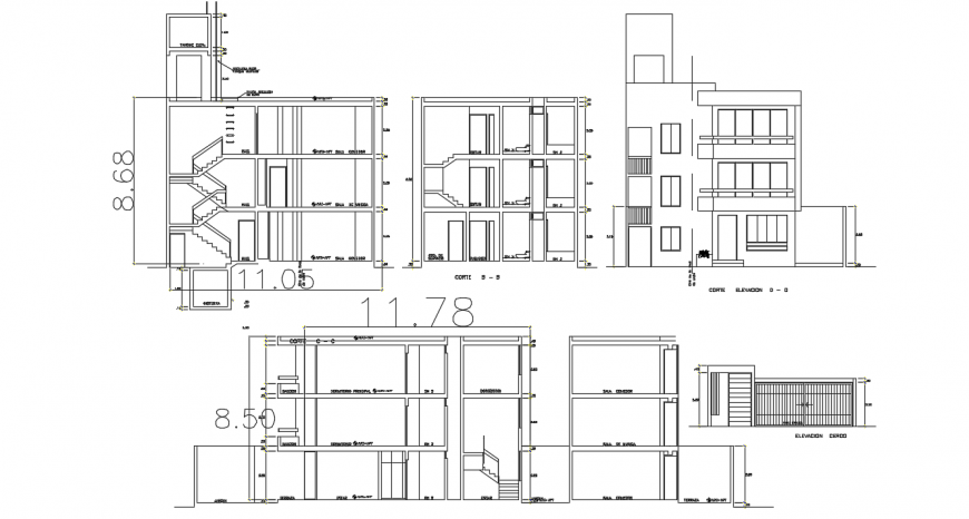 Bi-familiar residential building elevation and section cad drawing details dwg file